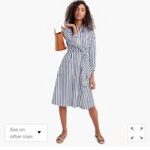 J. Crew Dresses - NEW J. Crew Shirt Dress Blue White Stripe Tie 12